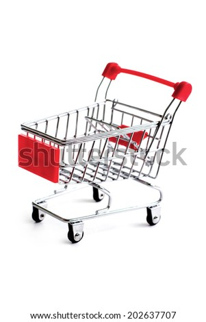 Small red shopping cart isolated over white background