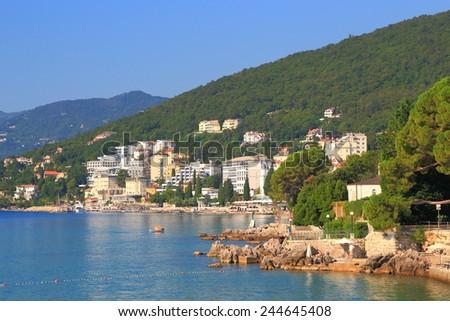 Small resort on the Adriatic sea coast, Opatija, Croatia - stock photo