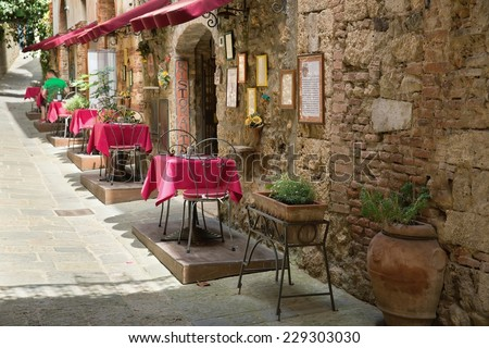 Small Restaurants - Picturesque nook of Tuscany - stock photo