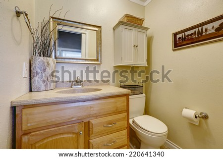 Small restroom interior in american house. Wooden cabinet with drawers decorated with dry branches in ceramic vase