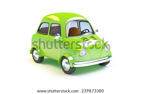 small retro car  isolated on a white background - stock photo