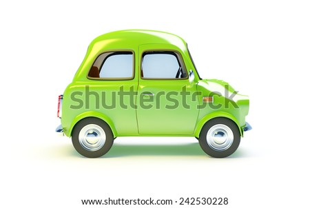 small retro car  isolated on a white background. Side view - stock photo