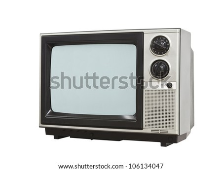 Small retro television isolated with clipping path.