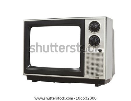 Small retro television isolated with clipping path. - stock photo