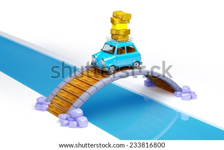small retro travel car on bridge isoleted on white - stock photo
