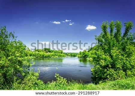 Small river and  blue sky.