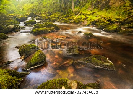 Small river in a national park Breckon Beacons in Wales. - stock photo