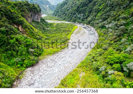Small river in Cascades route, Banos, Ecuador - stock photo
