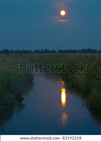 Small river in countryside by night - stock photo
