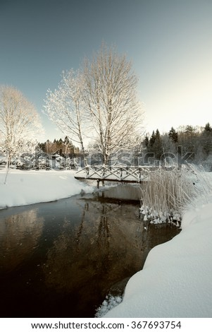 small river landscape in the winter