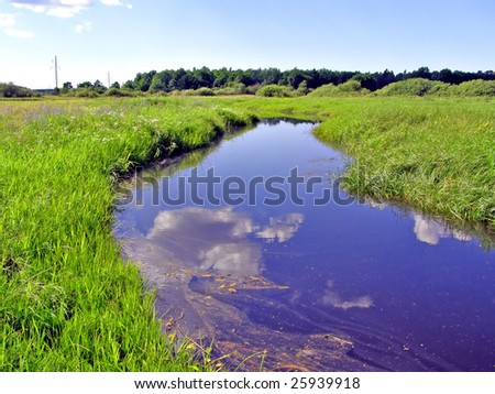 small river on field