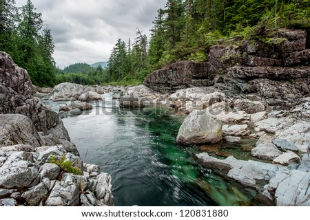 Small river on Sutton Pass, Vancouver Island, Canada - stock photo