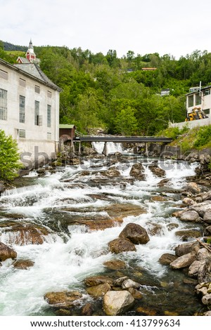 Small river that runs through the tiny city of Ulvik in Western Norway.
