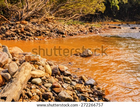 Small river with big stones on the coast and a red clay bottom in the tropical jungle of India