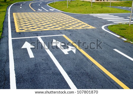 small road and traffic markings