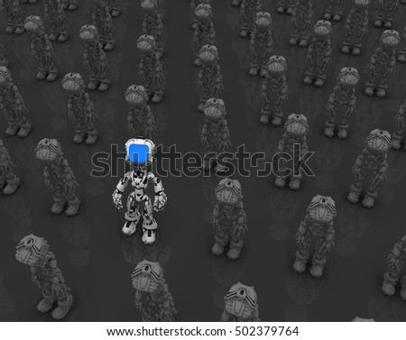 Small robotic figures, 3d illustration, dark background