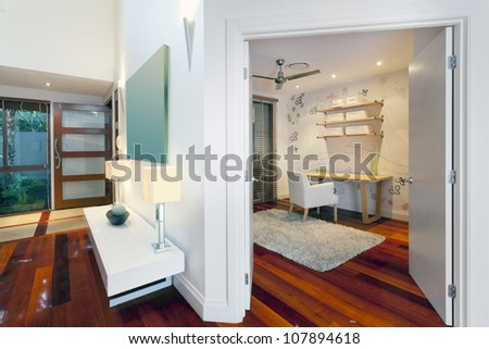 Small room and entrance in stylish home - stock photo