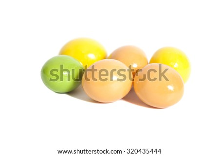 small round candies isolated on white - stock photo
