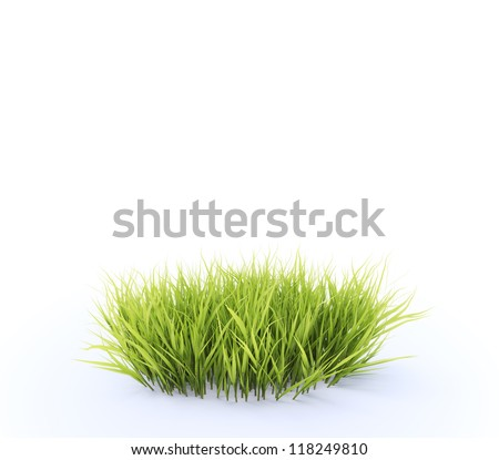 Small, round patch of fresh grass - stock photo