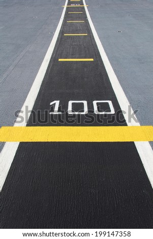 Small runway on the deck of new carrier. - stock photo