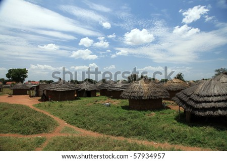 Small Rural Village in Uganda - The Pearl of Africa - stock photo
