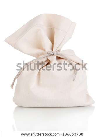 Small sack, isolated on white - stock photo