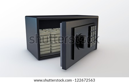 small safe open with dollars inside