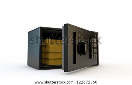 small safe open with golden bars - stock photo