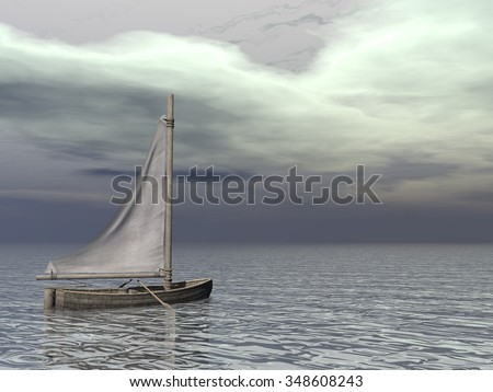 Small sailing boat on the ocean by grey day - 3D render
