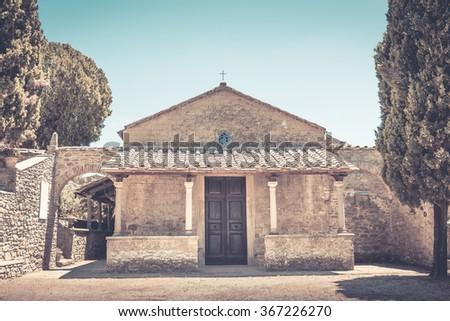 Small San Niccolo church in Cortona, Italy - stock photo