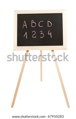 Small school wooden blackboard isolated on white background - stock photo