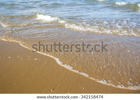 Small sea wave close up background.