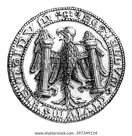 Small seal of the town of Besancon in 1434, vintage engraved illustration. Magasin Pittoresque 1870.
