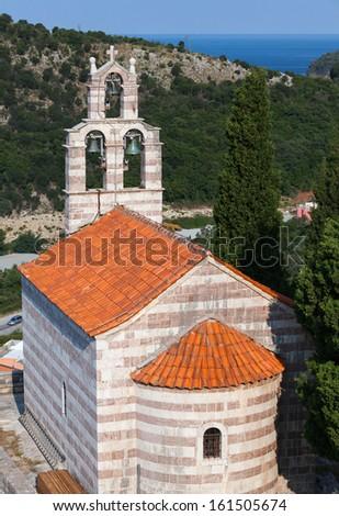 Small Serbian Orthodox Church in the monastery Gradiste, Montenegro - stock photo