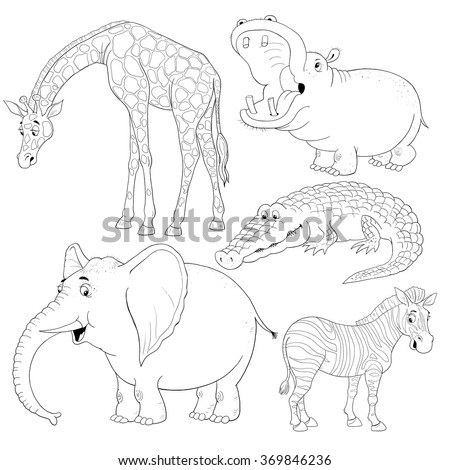 Small Set Of African Animals Cute Giraffe Hippo Crocodile Elephant And Zebra