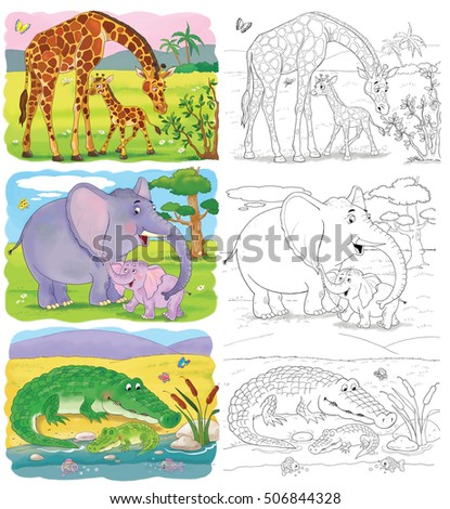 Zoo African Animals Elephant Giraffe Illustration Stock