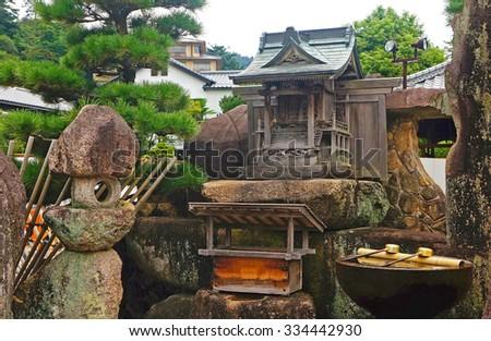 Small Shinto shrine in Miyajima island, Japan - stock photo