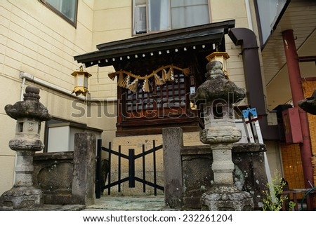 Small Shinto shrine, Takayama, japan - stock photo