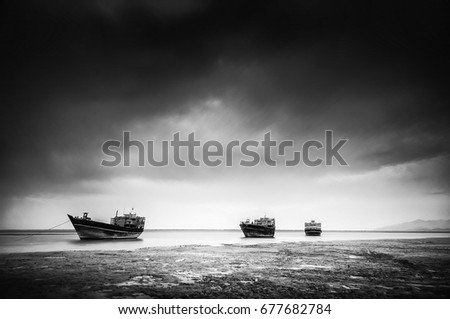 Small ships in Port of Laft, Qeshm, Iran