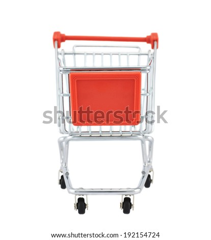 Small shopping cart isolated over the white background - stock photo