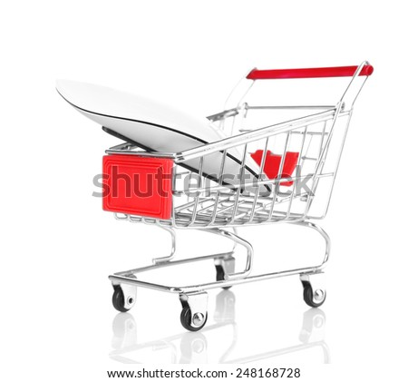 Small shopping cart with computer mouse isolated on white - stock photo