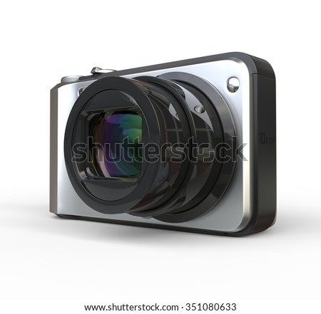 Small silver camera on white background, close up of the lens, ideal for digital and print design.