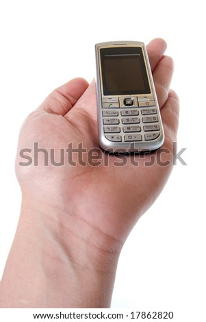 Small Silver Mobile Phone Device in hand