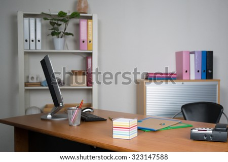 Small, simple and clean office interior - stock photo