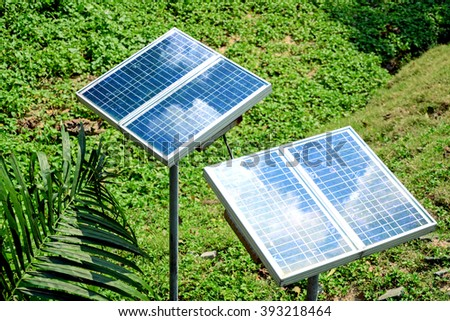 Small size solar panels for household or garden use. - stock photo