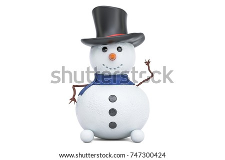 Small Snowman, 3D rendering isolated on white background