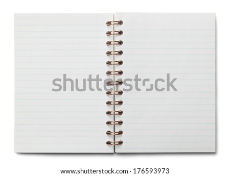 Small Spiral Notebook Opened with Line Paper Isolated on White Background.