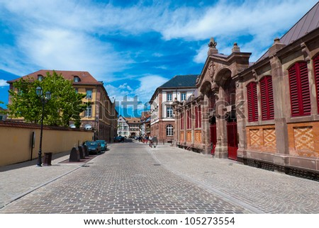 Small square in Colmar old town, Alsace, France - stock photo