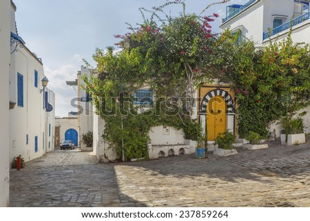 Small square in Sidi Bou Said with traditional houses and hibiscus flowers, Tunisia - stock photo