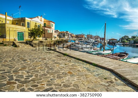 Small square in Stintino seafront, Sardinia - stock photo